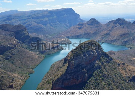 Landscape of Blyde River Canyon located in Mpumalanga South Africa - stock photo