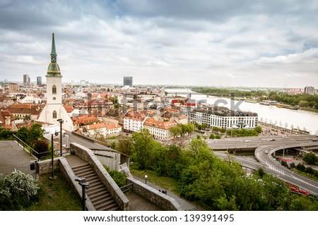 Landscape of Bratislava, Slovakia - stock photo