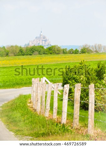 Landscape of Brittany and Mont Saint-Michel - tidal island, town and abbey. France