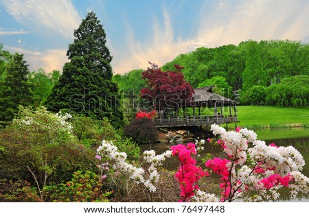 Landscape of Brookside Gardens nature park in Maryland - stock photo