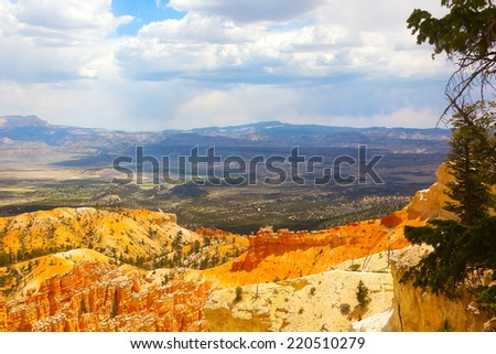 Landscape of Bryce Canyon with rock formations and trees. A view on Bryce Canyon from the cliff. - stock photo