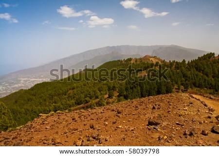 Landscape of Caldera de Taburiente from La Palma - stock photo