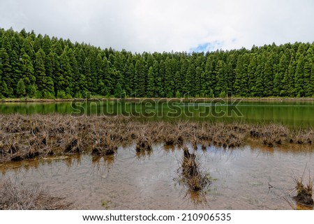 Landscape of Canarios Lake. Sao Miguel Island, Azores, Portugal. - stock photo