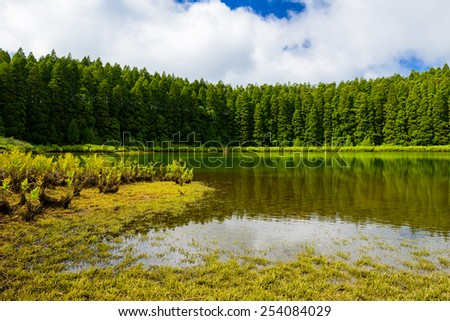 Landscape of Canarios Lake, Sao Miguel Island, Azores, Portugal  - stock photo
