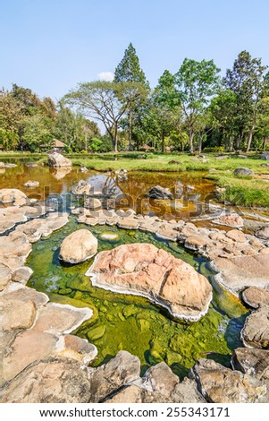 Landscape of Chae Son Hot Spring at Lampang province, Thailand - stock photo
