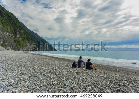 Landscape of Cingshuei Cliff (Qingshui Cliff) By The Beach, Hualien, Taiwan