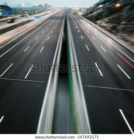 landscape of clean freeway at china. - stock photo