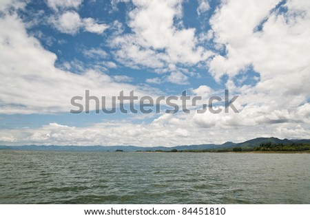 Landscape of cloud blue sky and lake