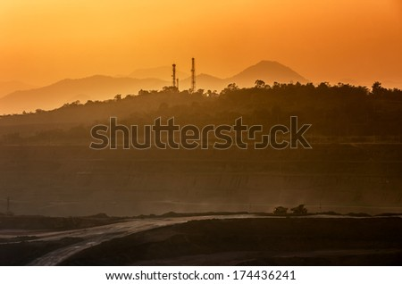 Landscape of coal mine in Mae Mo, Lampang view balcony. - stock photo