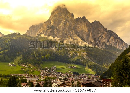 Landscape of corvara in Dolimites, Italy - stock photo