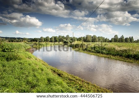 landscape of Countryside in Essex of after severe rain - stock photo