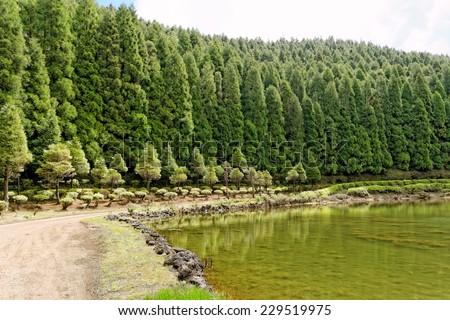 Landscape of Empadadas Lake. Sao Miguel Island, Azores. - stock photo