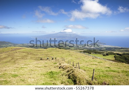 Landscape of  Faial island with Pico in the background, Azores, Portugal - stock photo