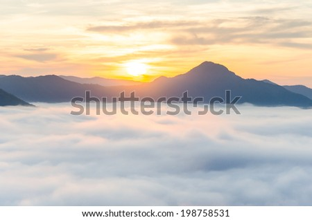 Landscape of fog.Early Morning Mist. Chiang Khan, Loei of Thailand. - stock photo