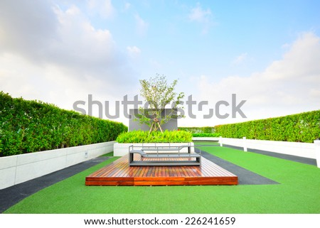 Landscape of garden on rooftop - stock photo