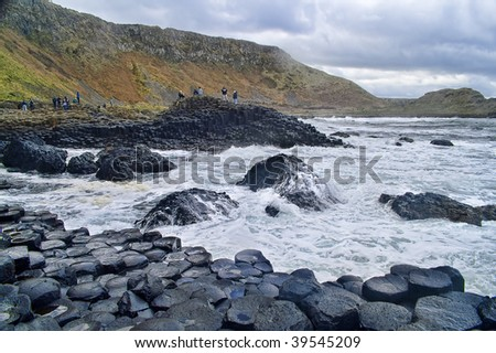 Landscape of Giant's Causeway Northern Ireland - stock photo