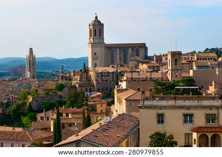 Landscape of Girona with the Girona Cathedral. Catalonia, Spain - stock photo