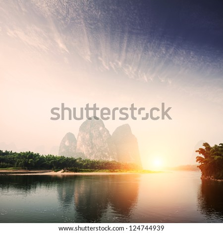 landscape of guilin - stock photo