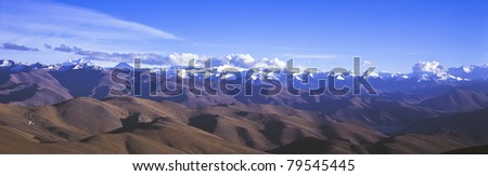 landscape of Himalayan giant by 617 film camera  in the northwest of china - stock photo