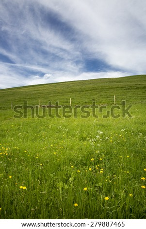 landscape of Jura mountain with blooming green meadow, Switzerland - stock photo