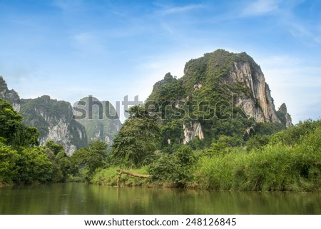 Landscape of Khao Sok National Park in Thailand