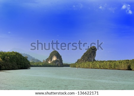 landscape of Krabi river of Thailand - stock photo