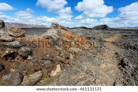 Landscape of Krafla and Leirhnjukur Showing Lava Field . Krafla is a caldera of about 10 km in diameter with a 90 km long fissure zone, in the north of Iceland in the Myvatn region.