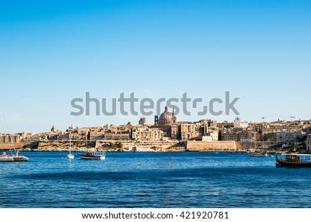 Landscape of La Valetta in sunlight with clear sky. Malta. - stock photo