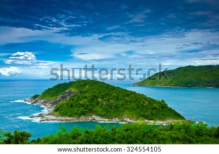 Landscape of Laem Phromthep, one of the most famous view point for sunset in Phuket, Thailand. - stock photo