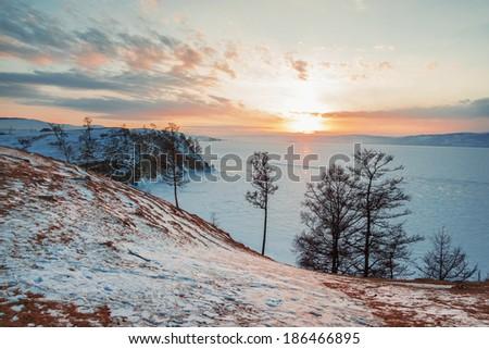 landscape of Lake Baikal in winter  - stock photo