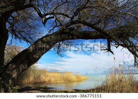 Landscape of Lake Balaton, Hungary - stock photo