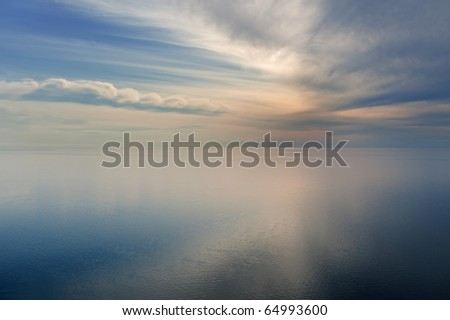 Landscape of Lake Michigan and clouds, Sleeping Bear Dunes National Lakeshore, Michigan, USA - stock photo