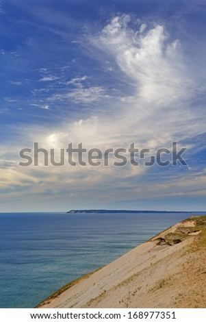 Landscape of Lake Michigan, beautiful clouds, and sand dune, Sleeping Bear Dunes National Lakeshore, Michigan, USA  - stock photo