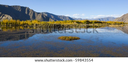 landscape of lake, mountain and treeline under blue sky, near lhasa, tibet.