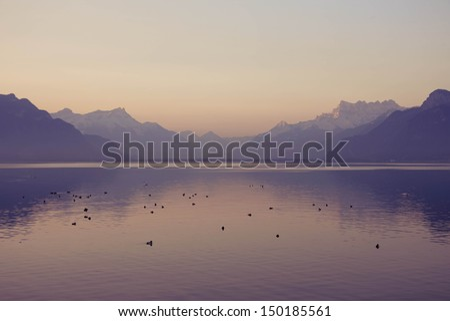 landscape of lake of Luzern, Vevey, Switzerland - stock photo