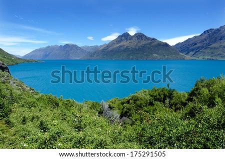 Landscape of lake Wakatipu in Otago, New Zealand. - stock photo