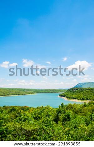 Landscape of Lamtakong dam, Thailand. - stock photo