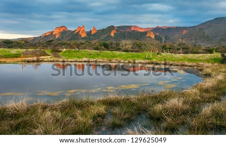 Landscape of Las Medulas with Small Lake,Spain. - stock photo