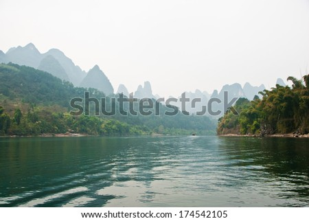 Landscape of Li River in Winter, Guilin, China - The Li River or Lijiang is a river in Guangxi Zhuang Autonomous Region, China. - stock photo