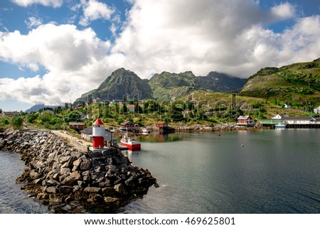 Landscape of Lofoten Islands in Norway.