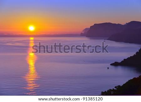 Landscape of Majorca coast at sunrise - stock photo