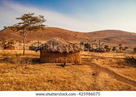 Landscape of Masai village in Africa