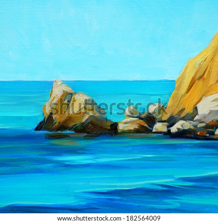 landscape of mediterranean sea with a beach and  bay, painting by oil on canvas - stock photo