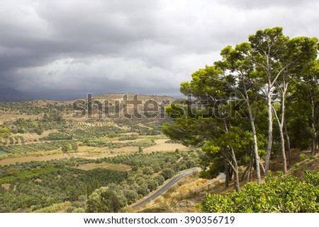Landscape of Messara Valley situated on the southwestern part of Heraklio - Greece  - stock photo