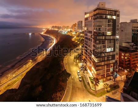 landscape of Miraflores, Lima, Peru - stock photo