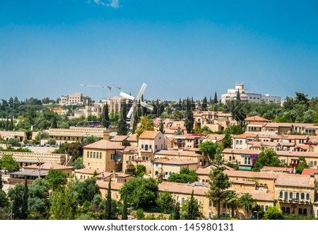 Landscape of Mishkenot Sheananim, the first jewish quarter outside the walls, Jerusalem - stock photo