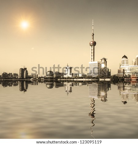 landscape of modern city with reflection