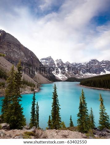 Landscape of Moraine Lake, Banff National Park, Alberta, Canada - stock photo