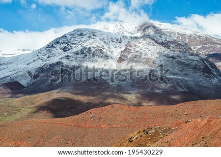 landscape of Mount Atlas in Morocco with herd of goats on the basis - stock photo