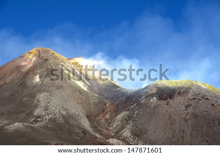 Landscape of Mount Etna, an active volcano on the east coast of Sicily, close to Messina and Catania. - stock photo